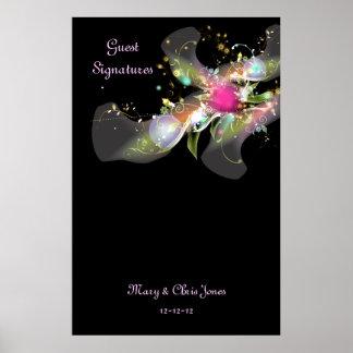 Affiche florale abstraite de signature d'invité