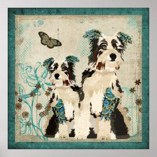 Affiche florale bleue vintage de chiens