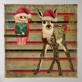 Affiche florale d'art de Noël de faon et de hibou