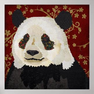 Affiche florale d'art de panda