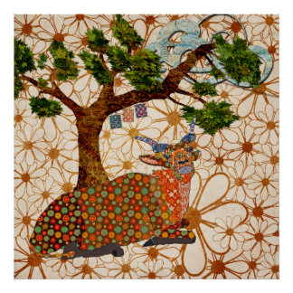 Affiche florale de brise musicale Artsy d'addax