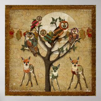 Affiche florale de festivité de forêt de faons et