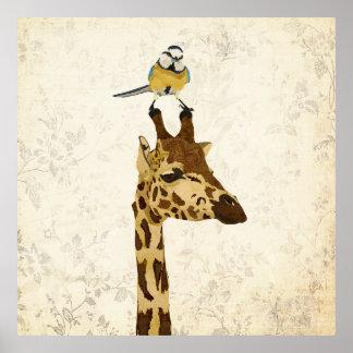 Affiche florale de girafe et de petit oiseau bleu
