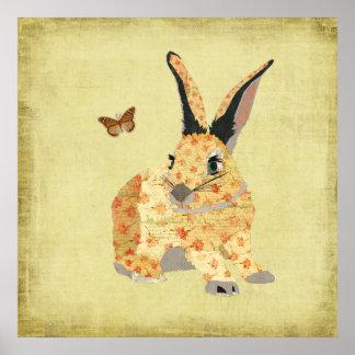 Affiche florale minable d'art de lapin
