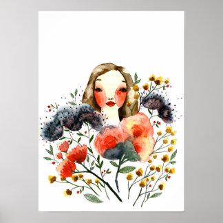 Affiche florale sensible d'art de portrait de