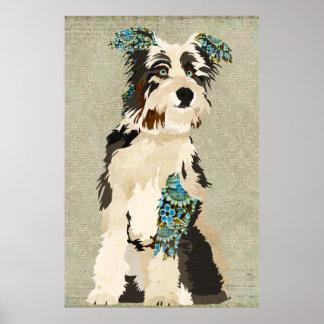 Affiche florale vintage d'art de chien