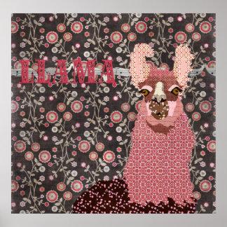 Affiche florale vintage de Brown de lama rose