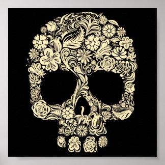 Affiche florale vintage de crâne de sucre