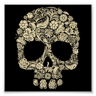 Affiche florale vintage de crâne de sucre poster