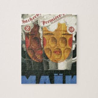 affiche française originale 1929 d'art déco de puzzle