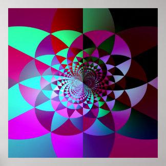 Affiche géométrique colorée d'abrégé sur fractale
