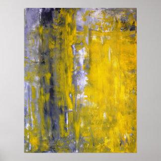 """Affiche grise et jaune """"curieuse"""" d'art abstrait"""