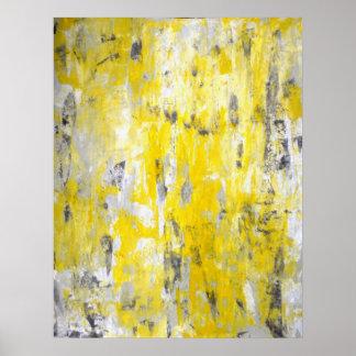 Affiche grise et jaune d'art abstrait