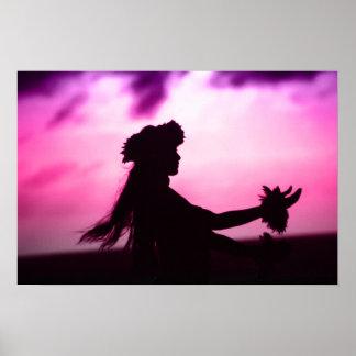 Affiche hawaïenne pourpre et rose posters
