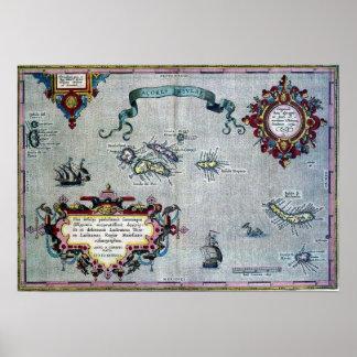 Affiche historique de carte des Açores Poster