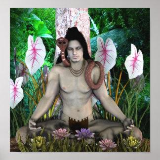 affiche indoue d'un dieu de shiva de 14,95 posters