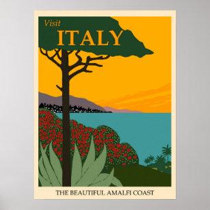 Affiche Italie Vintage voyage de la côte amalfitaine