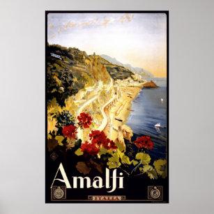 Affiche italienne de voyage de littoral d'Amalfi