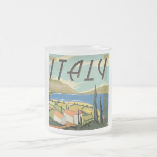 Affiche italienne vintage mug en verre givré