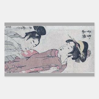 Affiche japonaise de femme sticker rectangulaire