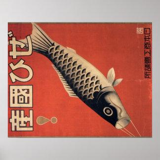 Affiche japonaise vintage de poissons