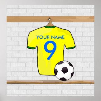 Affiche (jaune) personnalisable de chemise du foot
