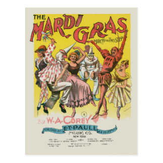 Affiche jaune vintage de mardi gras carte postale