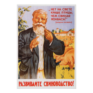 Affiche kolkhozienne soviétique 1955 de propagande poster