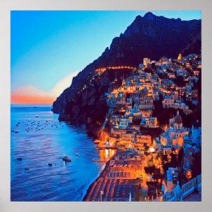 Affiche ldp POSITANO Côte Amalfi - coucher de soleil à l