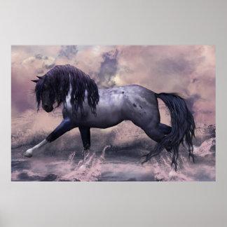 """Affiche """"les eaux foncées """" de cheval d'imaginaire"""