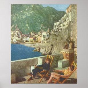 Affiche L'Italie vintage, détendant sur la côte d'Amalfi