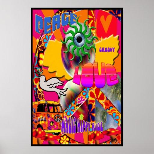 Affiche magique de tour de hippie