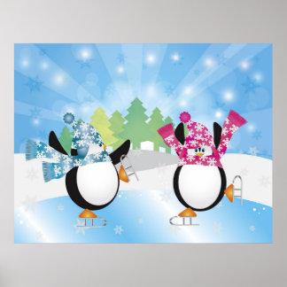 Affiche mignonne de patinage artistique de pingoui