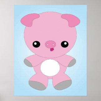 Affiche mignonne de porc de bébé
