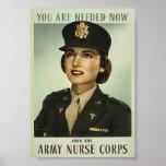 Affiche militaire vintage de corps d'infirmière