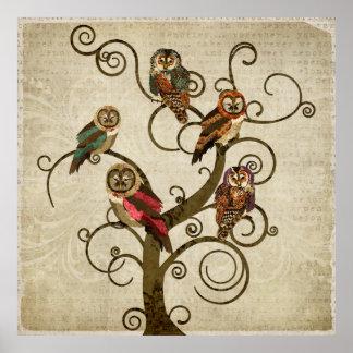 Affiche minable d'art d'arbre de hibou