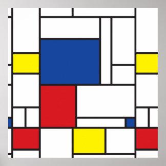 Affiche minimaliste d'art moderne de Mondrian de Posters