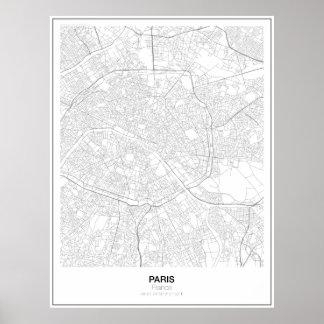 Affiche minimaliste de carte de Paris, France Poster