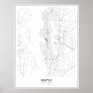 Affiche minimaliste de carte de Seattle, Poster