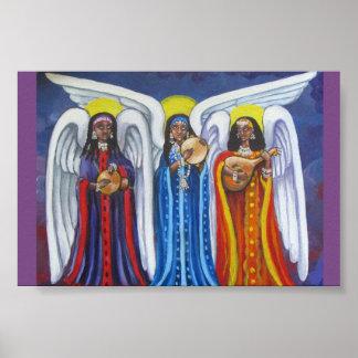 Affiche minuscule de trio de musique d'ange posters