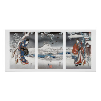 Affiche moderne de triptyque de Genji