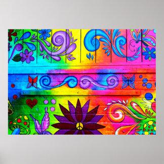 affiche murale hippie psychédélique