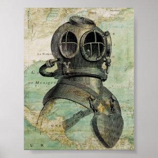 Affiche nautique antique de casque de carte et de  posters