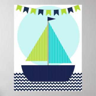 Affiche nautique de crèche de voilier