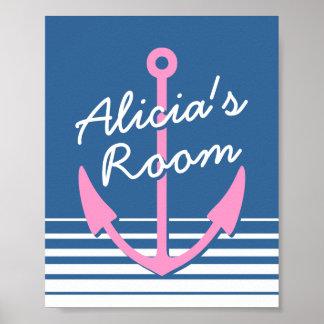 Affiche nautique personnalisée de décor de chambre posters