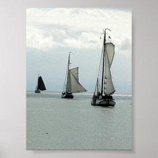 Affiche néerlandaise de trois voiliers