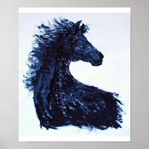 Affiche noire de style bohème de cheval
