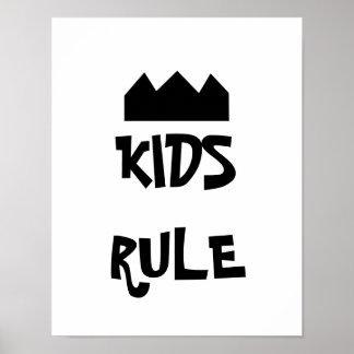 Affiche noire et blanche de règle d'enfants