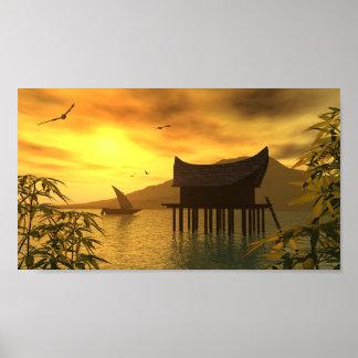 Affiche orientale de paysage