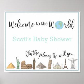 Affiche orientée de baby shower de voyage posters